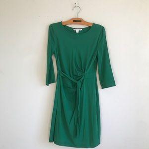 DVF emerald semi wrap silk dress